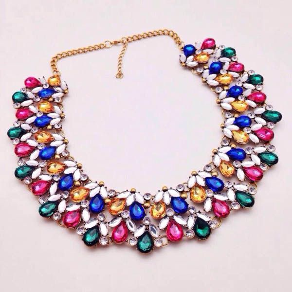 Rainbow Water Drop Statement Necklace - Majesty Case