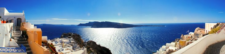 https://flic.kr/p/9C3vvC | Oia / Santorini / Thira / Greece / Panorama |  Visit Our Website! II Facebook II  Twitter II Tumblr  For image licensing requests or photo related questions  click here! or message me through Flickrmail.   Oia (Greek: Οία, pronounced [ˈi.a]) is a former community on the islands of Thira (Santorini) and Therasia, in the Cyclades, Greece. Since the 2011 local government reform it is part of the municipality Santorini, of which it is a municipal unit.[2] It covers…