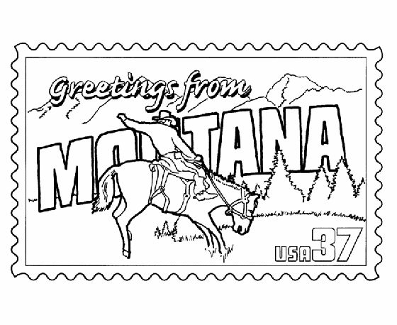 Montana State Stamp Coloring Page Usa For Kids Pinterest