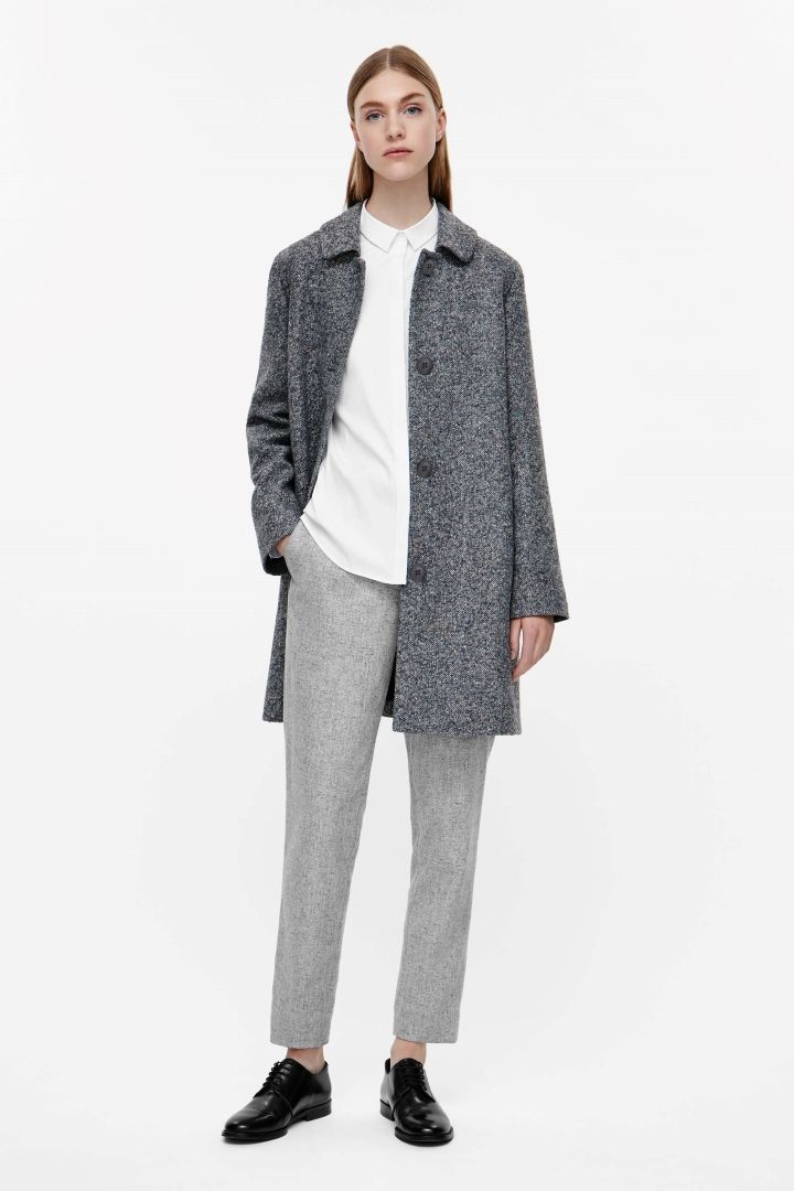 COS image 6 of Long coat with large collar in Grey