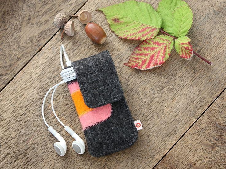 """iPod nano Tasche """"Anthrazit-Rosa-Orange"""" von blandine taschen  auf DaWanda.com"""