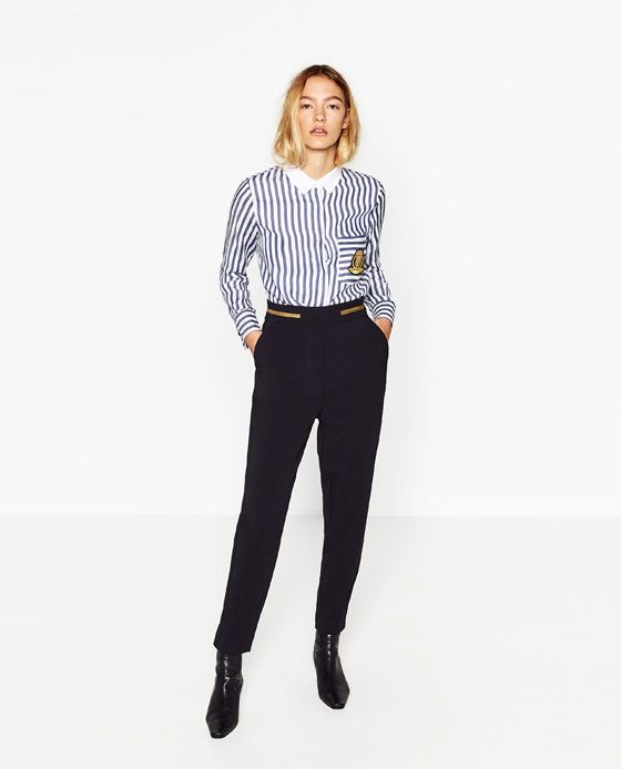Image 1 of HIGH WAIST CROPPED TROUSERS from Zara