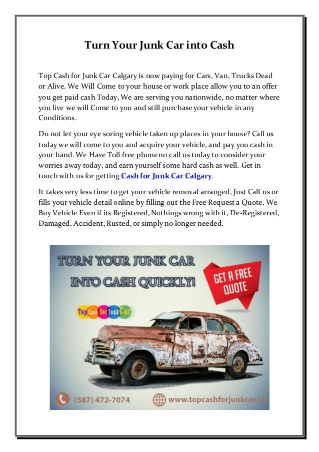 Cash for Junk Car Calgary | Pinterest | Cash today and Cars