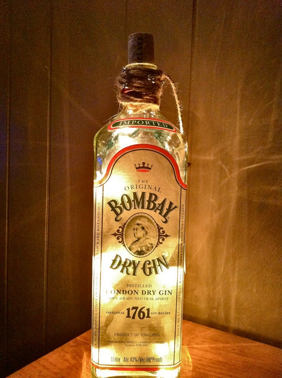 liquor bottle lamp... I can't decide which I like most... the lights inside the bottle or the lamp shade and light kit...hmmmmmmm