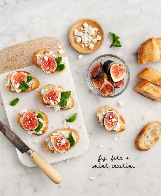 Fig, Feta and Mint Crostini
