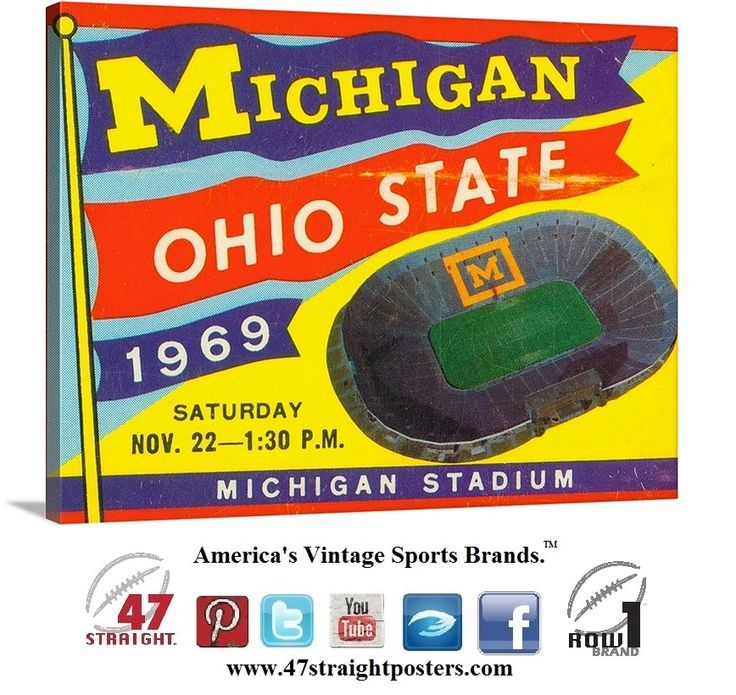 College football ticket canvas art. 1969 Upset of the Century. The #Michigan #Wolverines upset the #1 #OhioState #Buckeyes in #AnnArbor  #collegefootball #47straight #vintage #sports #art #walldecor #gameroomideas #mancaveideas