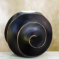 Wood tealight candleholder, 'Asian Moon in Black'
