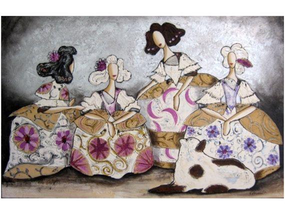 cuadro pintado a mano meninas de Velazquez modernas, estilo collage en plata y arpillera sobre lienzo y bastidor de 3cm de grosor