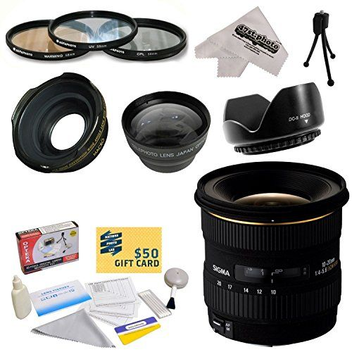 Sigma 10-20mm f/4-5.6 EX DC HSM Autofocus Lens For The Nikon D1 D1X D1H D2X D2Xs D2H D2Hs D3 D3X D3s D100 D200 D300 D300S D700 D7000 D7100 D3000 D3100 D3200 D5000 D5100 D5200 D5300 D40 D40X D50 D60 D70 D90 D80 DSLR Cameras Includes 3 Year Extended Lens Warranty + 0.43x High Definition II Wide Angle Panoramic Macro Fisheye Lens + 2.2x Extreme High Definition AF Telephoto Lens + Professional 3 Piece Pro Filter Kit (UV, CPL, FLD) + Flower Lens Hood + Deluxe Lens Cleaning Kit + LCD Screen…