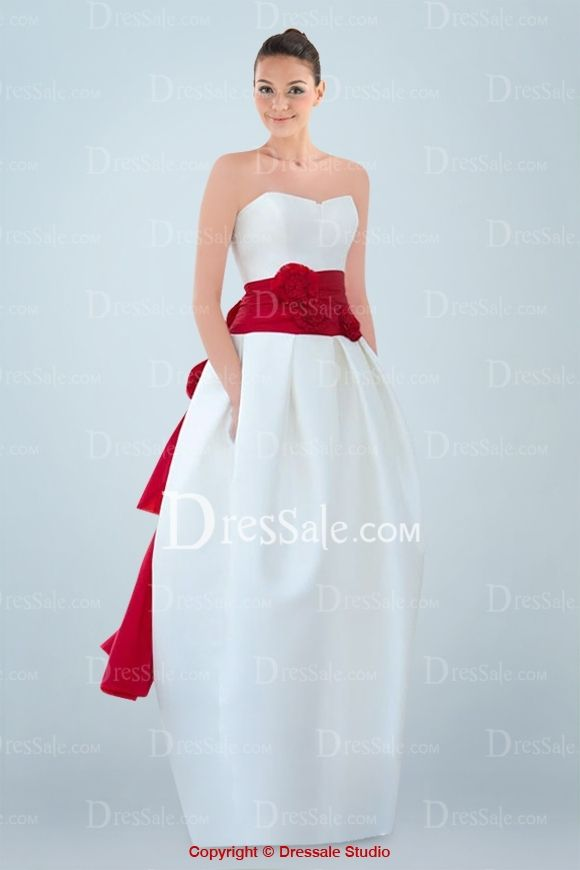 Distinctive Strapless Dipped Wedding Dress with Floral