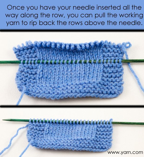 Ripping back with less risk: Once you have your needle inserted all the way along the row, you can pull the working yarn to rip back the rows above the needle. From yarn.com blog. BONUS TRICK -- For easier pick-up, use a needle a size or two smaller than the ones you're knitting with. More good tips at https://www.pinterest.com/yrauntruth/fiber-knit-techniques-tutorials/