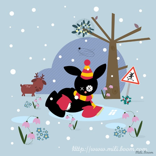 Hiver, jeunesse, illustration, lapin, rabbit, Black, couleurs, vectoriel, kawaii, saison
