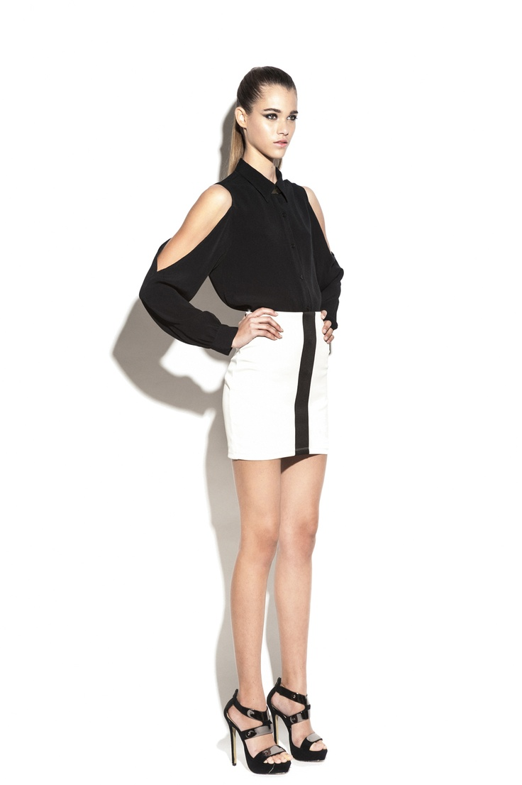 Nookie True Colours Shirt- Black & Track Star Skirt- Ivory