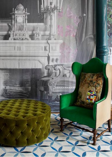 Love. Love. Love. Traditional image wall paper contrasted with vibrant green upholstery and modern rug. The Rug Company set.