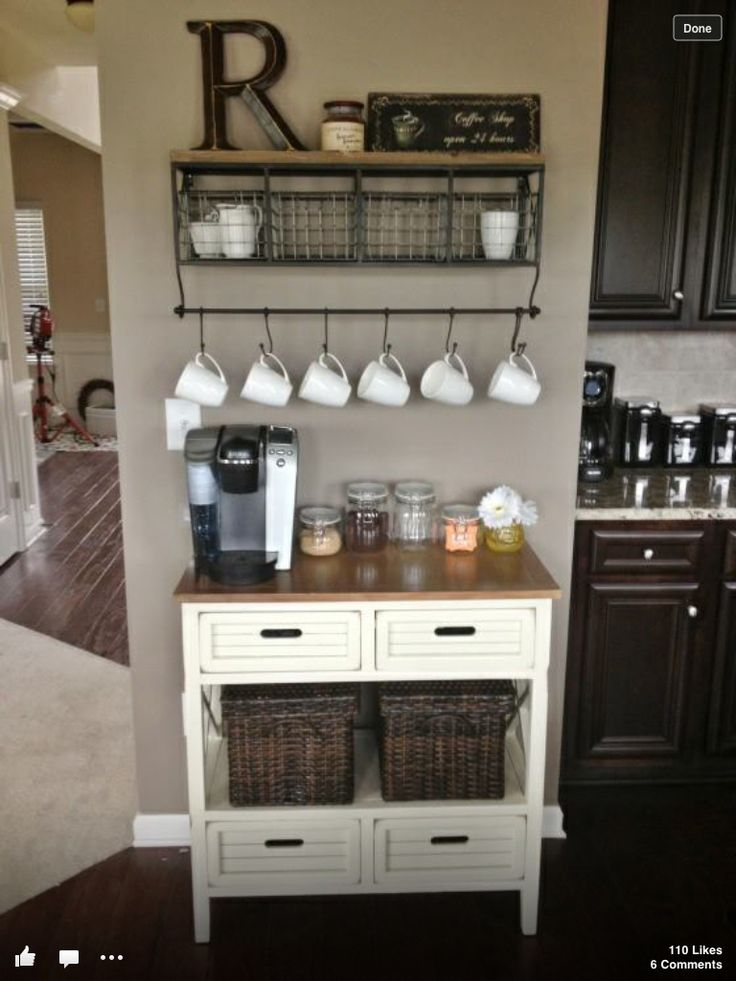 Gather all your coffee/tea items in one area - Coffee station... I love this coffee station...