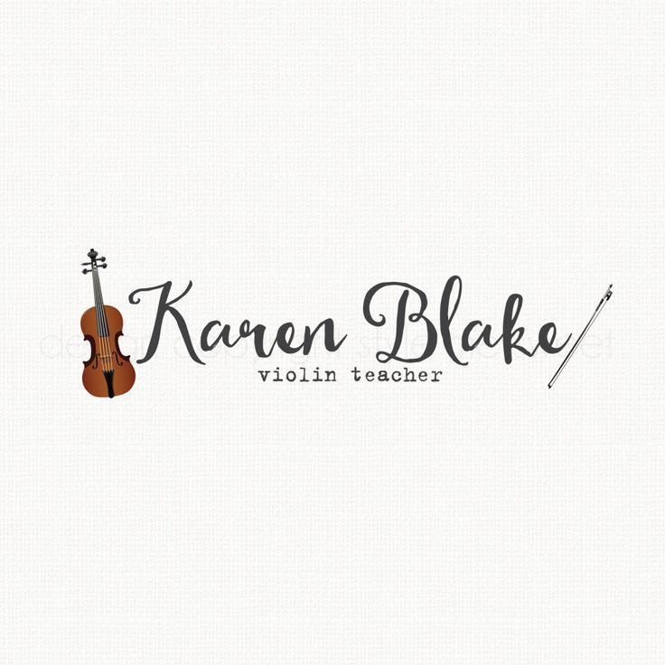 Violin Logo Design Music School Logo Music Teacher Logo Bespoke Logo Design Premade Logo Design Hand Drawn Logo Watermark Logo