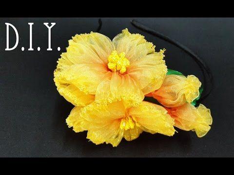 ❀ ♡ ❀ D.I.Y. Double Tone Organza Flower ❀ ♡ ❀ - YouTube
