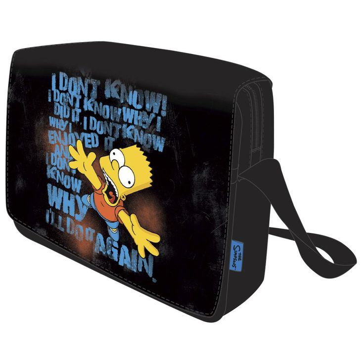Simpsonit-aiheinen Postmanbag-lähettilaukku. Musta olkalaukku on nailonia, ja siinä on kangasvuori ja suuri etulokero sekä yksi sisälokero. Molemmissa on vetoketjukiinnitys. Läpässä on tarrakiinnitys ja olkahihnan pituus on säädettävä.