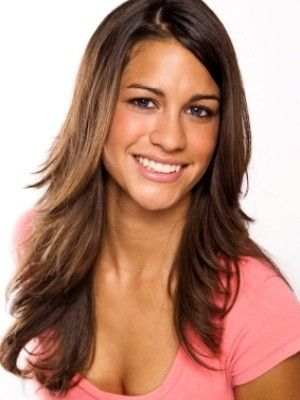 brunette long layers beveled out