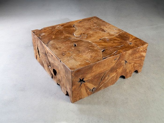 Teak Block Coffee Table Square Solid