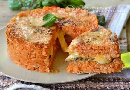 Torta di riso con mozzarella e melanzane grigliate