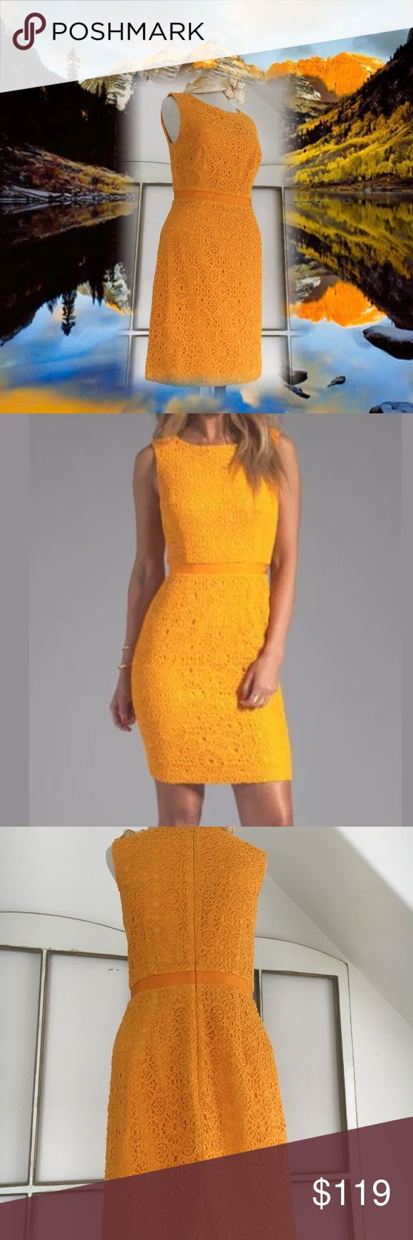 "☀️Trina Turk Dress☀️ Adorable tangerine color lace dress.. ribbon at the waist .. measured flat ... total length :35"" hips:18"" waist:14"" pit to pit:17"" shoulder to shoulder:13.5"" size 4 100% cotton hidden back zip entry ..zipper is 21"" long ... this dress retails at 338.00 worn once for pictures Trina Turk Dresses"