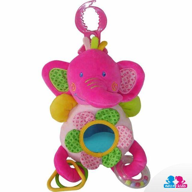 Ein Stoffspielzeug in Form eines Elefanten bewährt sich nicht nur bei einer Autofahrt, sondern auch beim Spazierenfahren oder beim Spielen zu Hause. Es besitzt nämlich einen handlichen Griff.    #stoffspielzeug #stoffteddys #lernspielzeug #spielzeug #kind #spielen