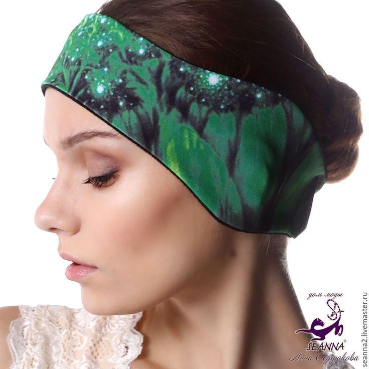 """Купить Полоска, повязка на голову утепленная на флисе """"Тропическая зелень"""" - повязка, полоска, полоска на голову"""