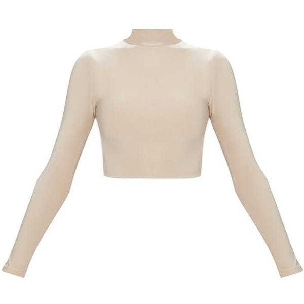 fba5aba7285 Nude Slinky High Neck Longsleeve Crop Top (€15) ❤ liked on Polyvore ...