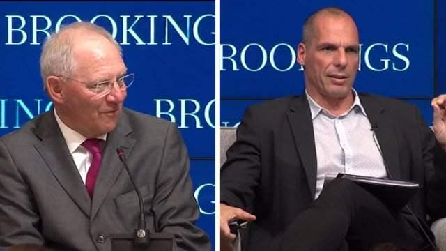 {  VIDEO: GERMAN AND GREEK FINANCE MINISTERS SPEAK AT BROOKINGS, OFFER DIFFERENT VIEWS ON EUROZONE ISSUES   } #TheBrookingsInstitution ..... ''In case you missed it, the German and Greek finance ministers both visited Brookings on Thursday. This highlight video shows how different their positions are on Greek debt and the European economy.'' ....... http://www.brookings.edu/blogs/brookings-now/posts/2015/04/finance-ministers-germany-greece-eurozone