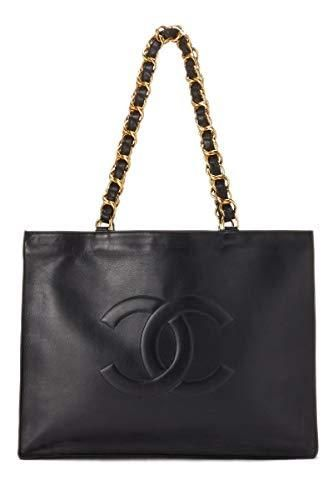 caad97dd390e CHANEL Black Lambskin Flat Chain Tote (Pre-Owned)