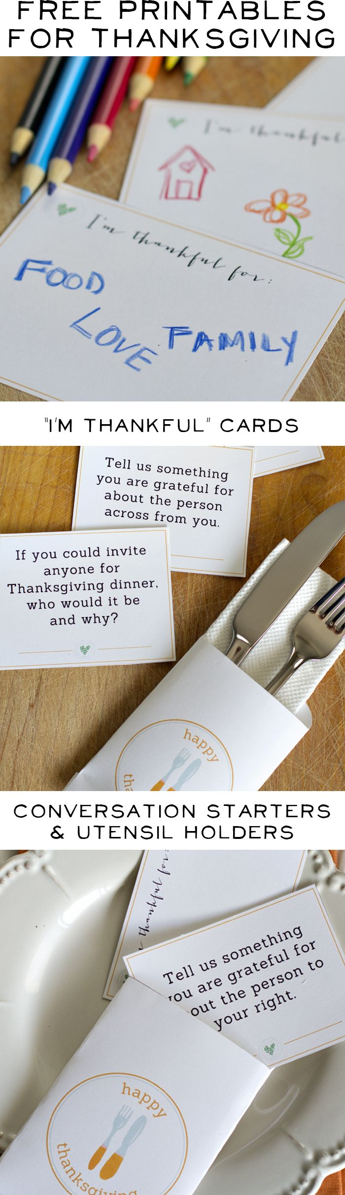 Free Printables for your Thanksgiving Table - Thankful cards, Conversation Starters, Utensil holders