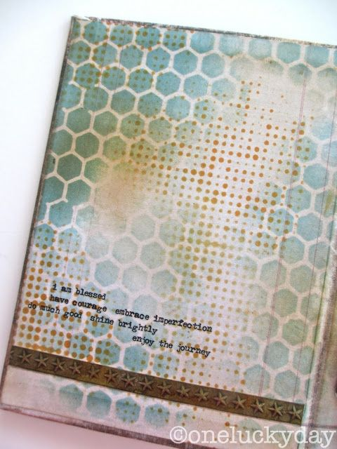 """By Paula. Use Distress Inks broken chine & spiced marmalade & layer stencils """"Honeycomb"""" and """"Dot Fade,"""" both by Tim Holtz. Add sentiment & star strip (made with Tim Holtz """"Stars"""" stencil)."""