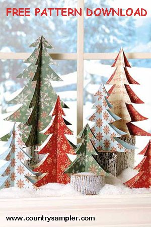 Make these cute 3D paper trees with our easy template. They'll cheer up any home! Download template: http://www.countrysampler.com/decorating/project-downloads/paper-trees-template?limit=10&offset=0&source=Pinterest Find more holiday ideas in our November 13 issue: http://www.samplermagazines.com/October_November_2013_Country_Sampler_Pre_sale_p/cn13b001a.htm