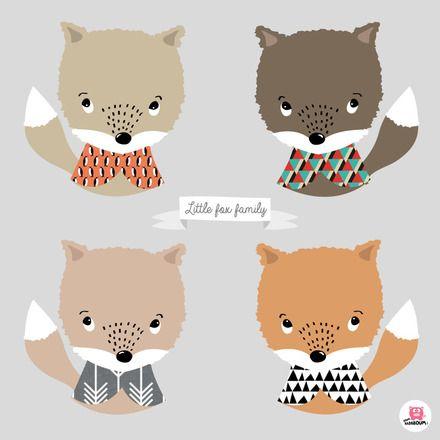 Affiche poster décoration chambre bébé Little fox family  -> L'IMPRESSION L'Affiche est imprimée sur un papier épais de qualité. Dimensions: 30X30cm  --> LA LIVRAISON  - 8371937