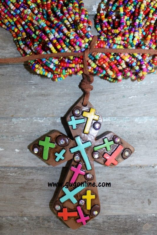 Brown Cross Clay Pendant with Small Multi Crosses $16.95 www.gugonline.com