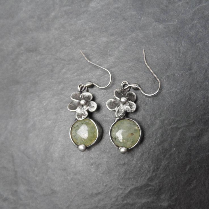 Metal Earrings with prehnite. REZERVATION JILL.  Earrings is hand made.Tiffany technique, Healing Stone, by Helenamode on Etsy