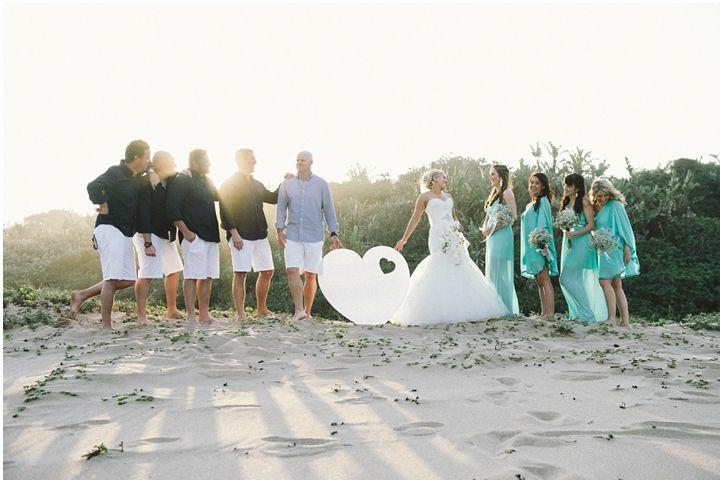 Brightgirl Photography. Love on the beach #beach #bridalparty #groomsmen #bridesmaids #heart #creativeshoot #PalmDunes #KZNNorthCoast