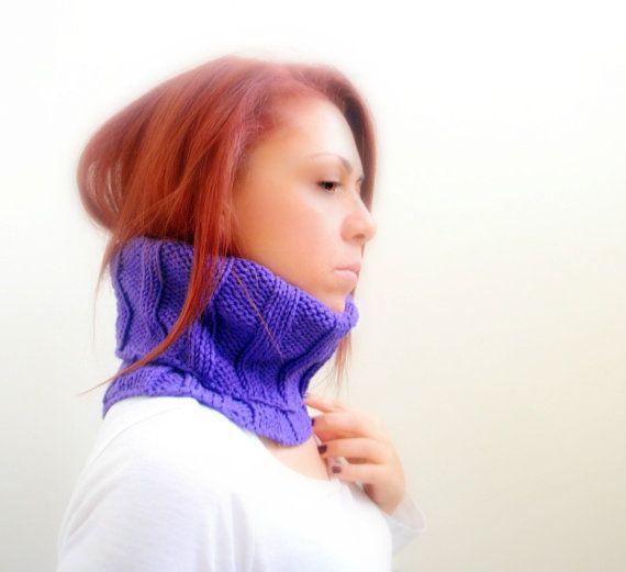 Purple hand knitted cowl neck warmer collar reversible by Kikoa, $40.00