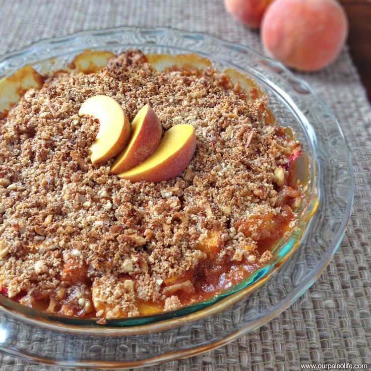 Peach cobbler with a crunchy topping and no refined sugar or white flour allows the flavor of the delicious peaches to shine through and take center stage.