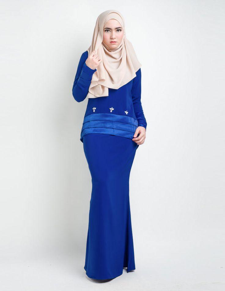 baju kurung moden anessa blue front main