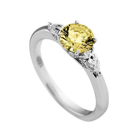 Diamonfire - Zilveren Ring Maat 16.5 - Solitaire - Iconic Yellow - Gele steen