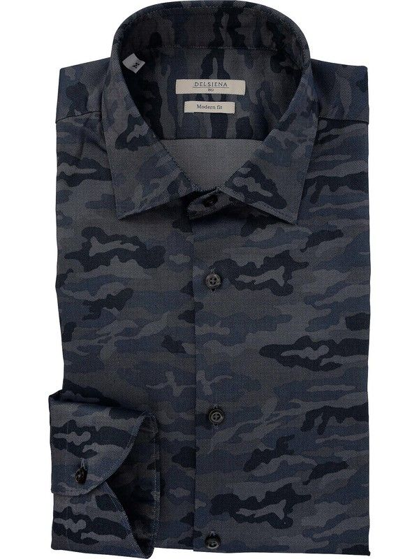 Men's shirt in Oxford fabric blue army patterned - DELSIENA