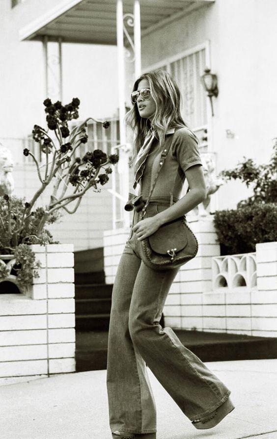 Retro model photography. Flare pants sepia tone image