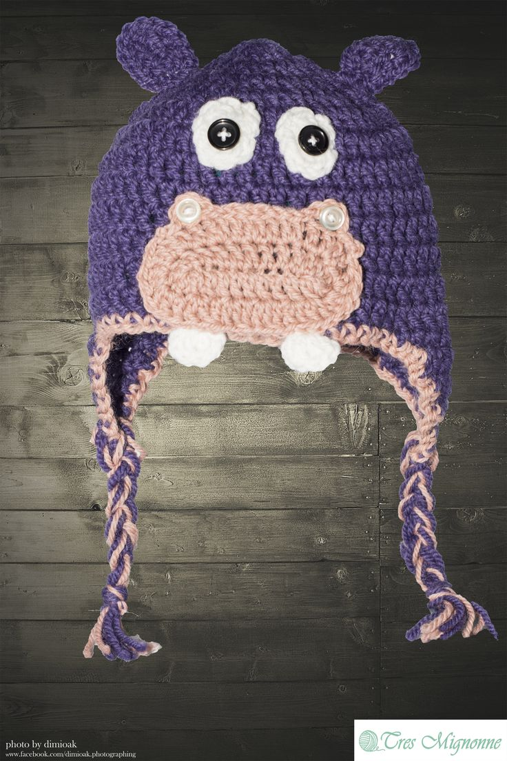Such an adorable crochet hippo! Crochet hippo hat for kids or adults! Make an order at Tres Mignonne...