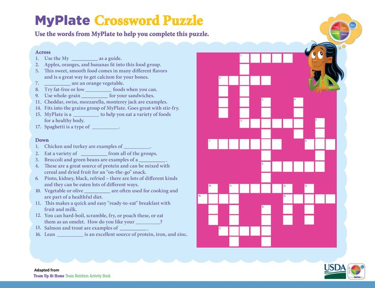 Test your MyPlate knowledge with this crossword puzzle!