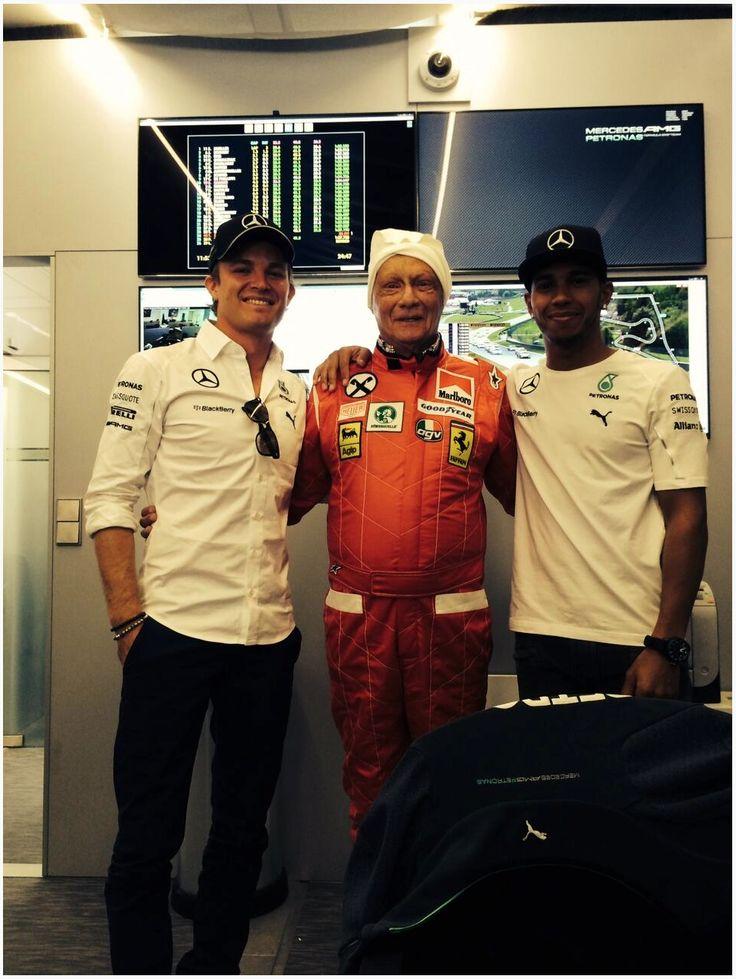 Niki Lauda, Hamilton and Rosburg June 2014