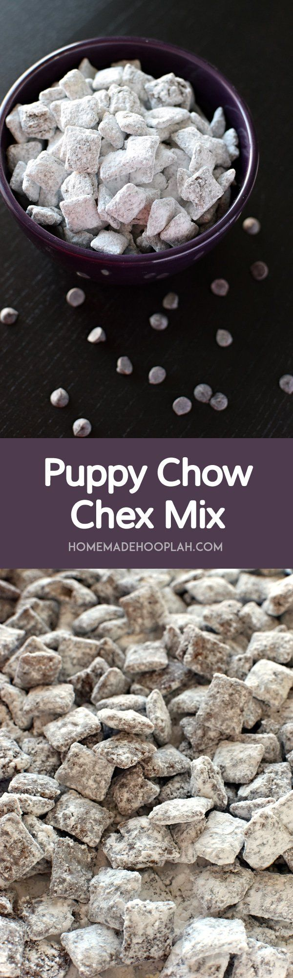 Puppy Chow Chex Mix! Crunchy Chex cereal covered in chocolate, peanut butter, and sugar. Puppy Chow Chex Mix is the classic winter snack food!   HomemadeHooplah.com