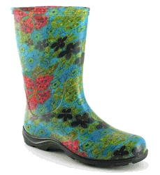 THESE ARE SUPPOSTED TO FIT ORTHOTICS  Sloggers Waterproof Rain Boots for Women (Midsummer Blue) - Click to enlarge