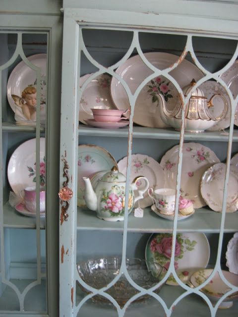 Ms. Funky Junk: 1940's Duck egg blue china cabinet Sold !Thank you Cindi